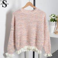 batwing jumper knitwear - Cute Ladies Fungus Hem Cashmere Sweater Jumper Dolman Sleeve Round Neck Chunky Pullover Sweaters Pink Blue Apricot Knitwear MTE1028