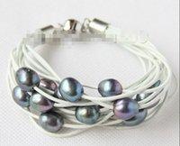 Wholesale gt gt gt gt gt Genuine quot mm row black pearls white leather bracelet e2431