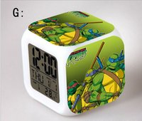 Wholesale Teenage Mutant Ninja Turtles modeling LCD Alarm Clock Calendar Thermometer Backlight colorful digital alarm clock