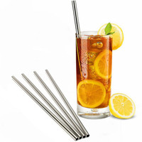 Wholesale Straight Metal Drinking Straw Stainless Steel Reusable Straws For Beer Fruit Juice Drink H2010201