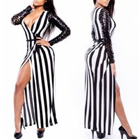 Cheap Sexy Stripe Night Club Stage Wear Hole Punch Celebrity Bandage Bodycon Dresses Q1565