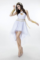 Wholesale 2016 New Arrival Adult Women Greek Goddess Dress White Sexy Cosplay Halloween Costumes Stage Performance Clothing Hot Selling