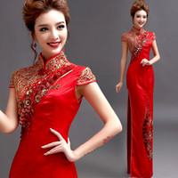 Wholesale Red Long Cheongsam Qipao Chinese Traditional Dress Chinese Dress Cheongsam Chinese Qipao