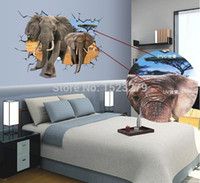 african style living room - 2015 New African Animal Elephants Antelope Wall Sticker Bedroom D Wall Decals Living Room cm