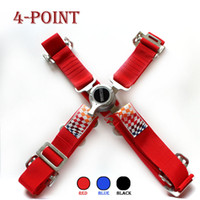 Wholesale 4 point quick release Universal JDM Car Auto Racing Sport Seat Belt Safety Harness Strap BLACK BLUE RED