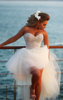 high low prom dresses - 2016 New Style Sweetheart Bling Short Puffy Prom Dressess Front Long Back Party Gown Pearls White High Low Prom Dresses