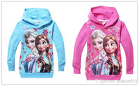 Wholesale 2016 new spring and autumn girl hoodies frozen elsa and anna children long sleeve pure cotton hoodies girl cartoon hoodies two colors