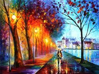 afremov prints - 2015 leonid afremov city couple couple umbrella Unique Gift printed on canvas Home Decor wall pictures for living room