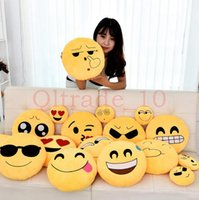 Wholesale 150PCS HHA425 baby pillows Styles Diameter cm Cushion Cute Lovely Emoji Smiley Pillows Cartoon Cushion Pillows Stuffed Plush Toy
