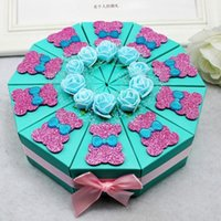 bear blue house - Blue Cake Wedding Candy Box Triangle Wedding Favors Gifts Boxes for Wedding Decoration Sweet Heart Candy Favors Boxes Lovely Bear