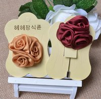 fabric flower pin - New fashion men brooch flower lapel pin suit boutonniere fabric yarn pin colors button Stick flower brooches for wedding