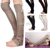 Wholesale button down boot cuffs lace button down leg warmers knit leg warmers knee high women boot lace trim for Christmas Crochet Gaiter socks