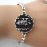 alloy dictionary - Photographer Bracelet Dictionary Definition Photography Camera Bangle Glass Dome Picture Art Pendant Metal Cuff Bracelet GL01