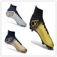 real football boots - Newest Arrivals C Ronaldo Gold Football Shoes Men Soccer Boots Ball Brand CR7 Cleats New Golden Globes Man Sports Shoe Real Carbon Tops