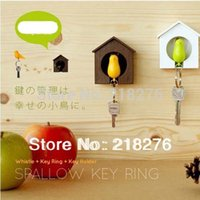 Cheap Sparrow Key Ring with Whistle Bird's Nest Hang on the Wall Bird Key Ring Great Gift