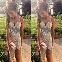 Wholesale Sparkly Gold Prom Dresses with Crystal Rhinestones Sexy Pageant Dresses High Split Side Evening Gowns Backless Party Dresses