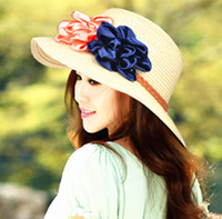 vintage hat lot - Newest Sweet flowers Large brimmed hats summer hats for women Fashion vintage Beach holiday female straw hats sun hats