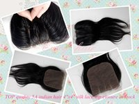 Wholesale New arrival A TOP quality indian hair quot x4 quot silk lace closures straight hair three part lace closure hair extension in stock