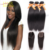 Wholesale Brazilian Virgin Hair With Closure Cheap Rosa Hair Products Brazilian Straight Virgin Hair Bundles with PC Top Lace Closure B