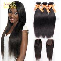 Wholesale Cheap Hair Lace Closure Piece - Brazilian Virgin Hair With Closure Cheap Rosa Hair Products Brazilian Straight Virgin Hair 3 Bundles with 1 PC Top Lace Closure #1B