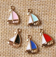 alloy craft boats - Gold Color Plated Mix mm Metal Zinc Alloy Enamel Charms For Jewelry Craft Making Diy oil Drop Boat Shape Jewelry Charms
