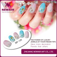 airbrush artificial nails - Sweet color pre glued false nails crown fashion artificial fingernails airbrush acrylic natural nails art tips