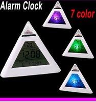 Four-piece Set best electronic calendar - Pyramid shaped digital clock seven color gradient thermometer timer electronic calendar best gift a child