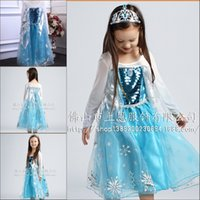 Wholesale Hot Sale Cheap NEW Frozen Clothes Romance Elsa Princess Dresses Elsa Anna Costume Kids Girls Blue Dress Party Pageant Gowns BO6800