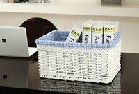 willow Sundries  Rustic rattan storage basket storage box storage basket cosmetics toy desktop coffee table storage box