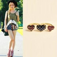 double finger ring - Vintage Stylish Jewelry USA National Flag Heart Double Fingers Ring Women s Antique Rings New