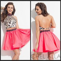 backless top pattern - 2015 Homecoming Dresses High Neck A Line Short Leopard Top Backless Two Piece Dress With Beading Water Melon Satin Skirt Short Party Dress