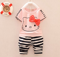 Wholesale Chinese Clothes For Boys - Summer kids fashion clothes suit bow top+pants 2 pieces suit girls boys stripe clothes sets 100% cotton for 1~7Y good quality