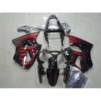 Wholesale Fashion Motorcycle Fairing Body Set For Kawasaki Ninja ZX6R Year Red Flame Black Painting Motorbike Cowling Parts