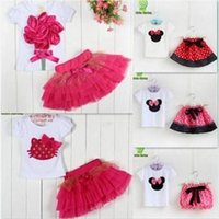 Cheap 2014 New Summer baby girls dresses clothing sets minnie mouse mickey clothes kids hello kitty red pink dots flowers girl dress