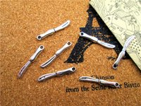antique chef knife - 1000pcs Knife charms Antique silver Kitchen Charm pendants Cutlery Chef Dinner Knife x3mm