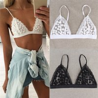 Wholesale New Arrivals Women Lady Sexy Bras Tops Lingerie Beach Bikini Triangle Bralette Sheer Lace Floral Unpadded White Black S L EB35