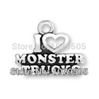 antiques direct - Factory Direct Alloy Antique Silver Plated I love Monster Trucks Charm