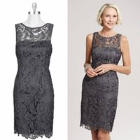 Wholesale Sexy Cheap Lace Short Mother of the Bride Dresses Cap Sleeve High Neck Knee Length Cocktail Party Dress Formal Dress Groom Mother Gowns