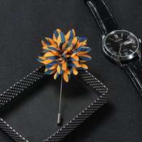 Wholesale handmade cloth flower brooch handmade Boutonniere Stick Pin Classic brooch corsage brooch upscale men s Accessories