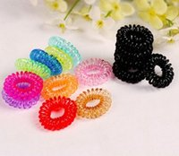 Wholesale 50Pcs Telephone Cord Elastic Ponytail Holders Hair Ring Scrunchies For Girl Rubber Band Tie Y050