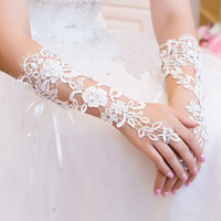 Wholesale 2015 Stock Fashion Appliques Lace Fingerless Wedding Accessories Black Tulle Net With A Pretty Bead Evening Party Bridal Gloves