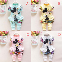 baby suit jacket - New Cartoon Minnie Mickey mouse clothes suits new Baby Girls Long sleeved jacket Trousers Two piece Suits B001