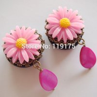 Wholesale Pink Pendant Ear Plug Tunnel Acrylic Ear Piericng Jewelry Body Expander A Sunflower On the Top Custom Design