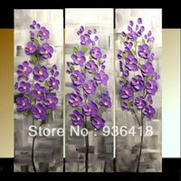 Cheap Custom 3 Panel Gallery canvas abstract Modern palette knife Impasto floral Oil painting Home decor Wall Art Wall Hangings Art