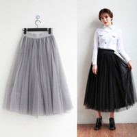 Wholesale Simple Girls Skirts Tea Length Layers Adult Tutu Tulle Skirt A Line Cheap Long Skirts White Grey Black