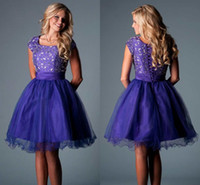Reference Images Tulle Square Regency Purple Plus Size Homecoming Dresses 2017 Cute Scoop Cap Sleeves Crystal Beaded Tulle Corset Lace Up Short Prom Dresses