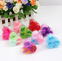 Wholesale New box one box Flower Soaps Bath Body Rose Petal Wedding Favors Birthday Gifts Home Decoration