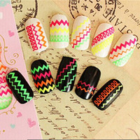 Wholesale Hot D Fluorescent Nail Art Stickers Women s Colorful Nail Art Tips Manicure Decal Decoration Finger Nail Accessories
