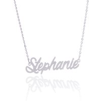initial charms - No custom K Gold Plating Stainless Steel Personalized Name necklace quot Stephanie quot Charm Nameplate Necklace Jewelry gift NL