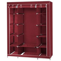 Wholesale FS Hot Row Canvas Non woven Fabric Wardrobe Clothes Hanging Rail order lt no track
